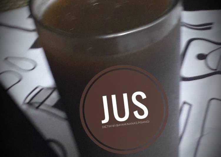 Resep Jus diet(kiwi.bayam.nanas.pisang)