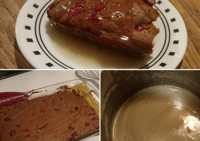 Cranberry Cake with hot 'butter cream' sauce - Gluten/Dairy Free