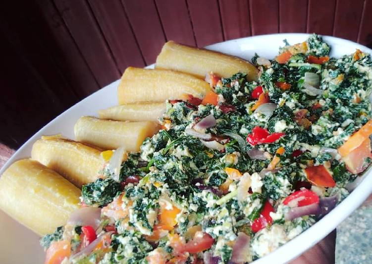 Boiled plantain and vegetable egg sauce
