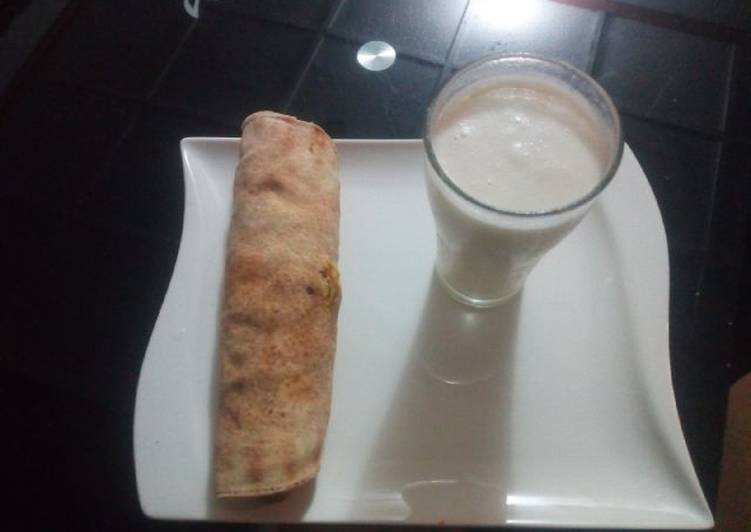 Tortilla wrap with banana and coconut smoothie