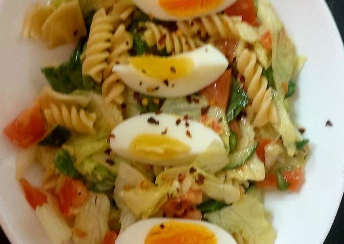 My Anchovies Pasta Salad with egg & dressing #KitchenBingo