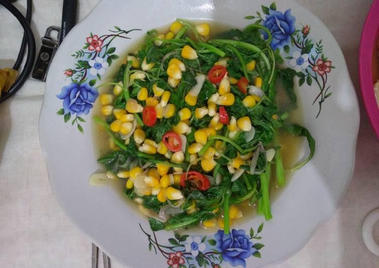 Tumis bayam jagung manis