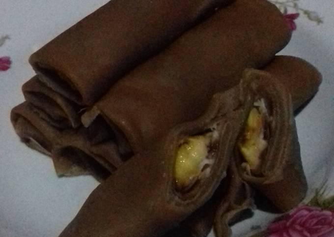 Cara Memasak Dadar gulung coklat isi pisang Anti Gagal
