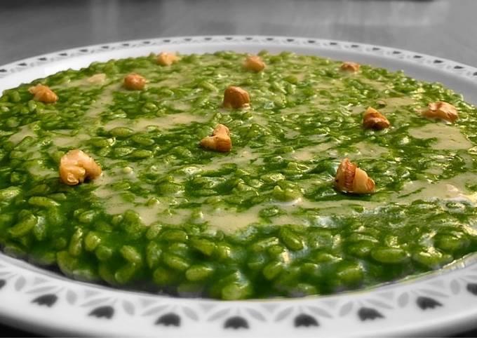 Risotto agli spinaci, fonduta al gorgonzola e noci 🥬🧀🥜