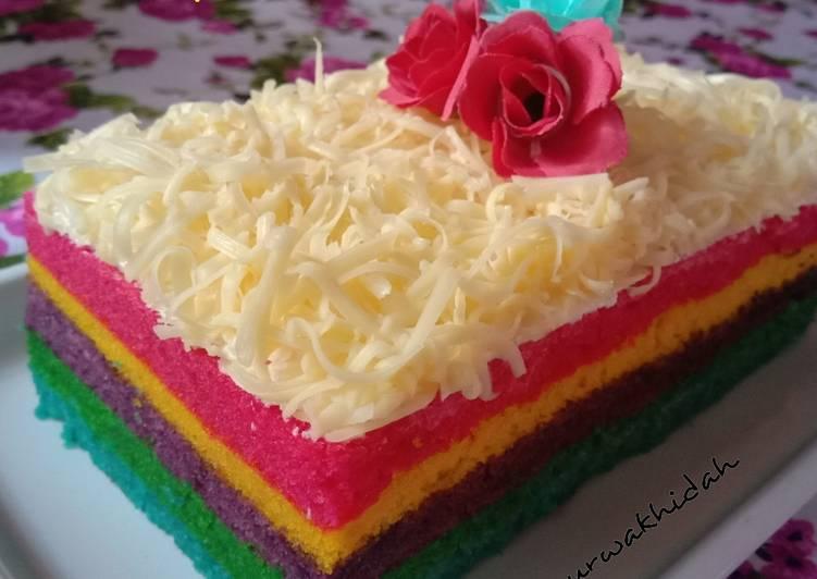 Cara meramu Rainbow Cake Kukus 'Ny Liem  Mudah