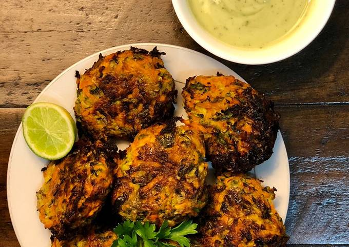 Carrot & Zucchini Fritters (spicy)