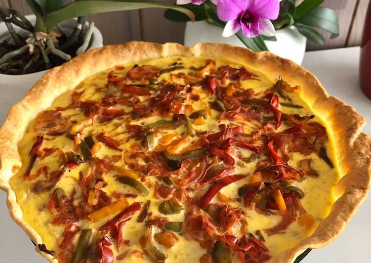 Tarte thon / poivrons / oignon rouge