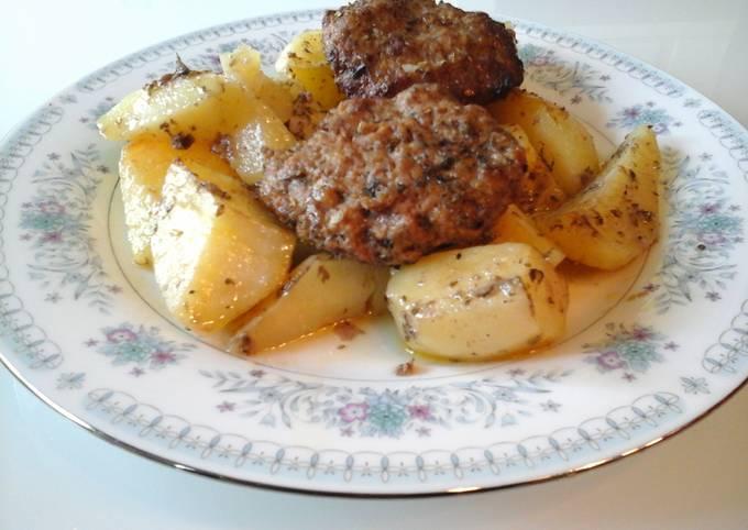 Roasted Oven Hamburgers with Lemon and Oregano Potatoes