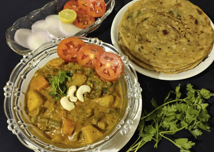 Mix veg curry and garlic lachchha paratha