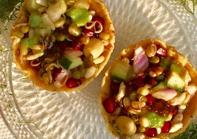 Easiest Way to Make Homemade Sprouts bhel in healthy baskets