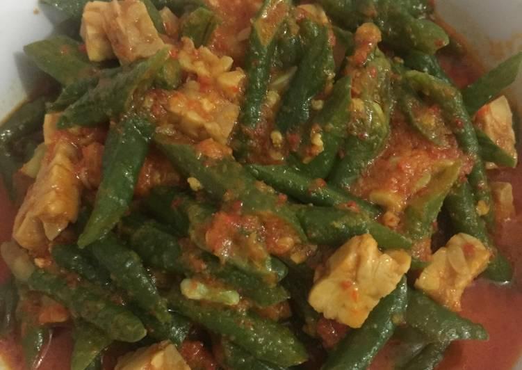 Resep Tumis kacang panjang & tempe santan pedes untuk jualan