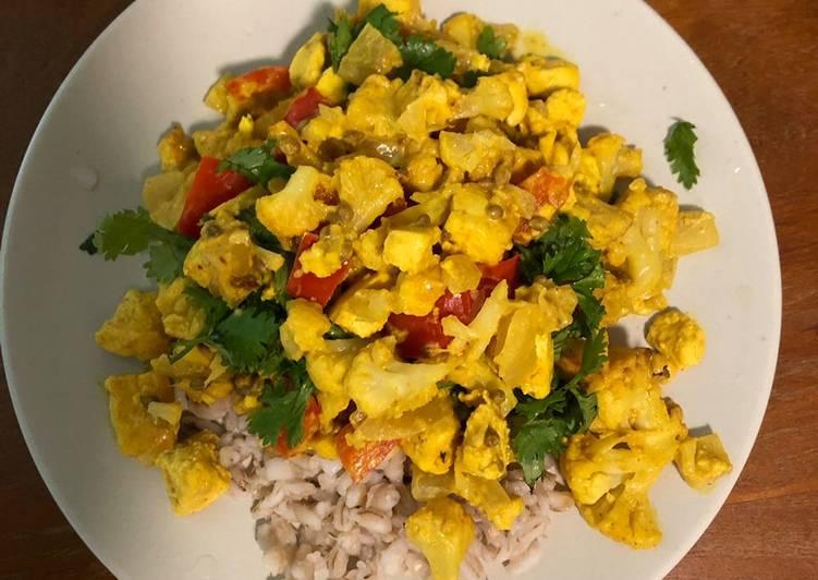 Steps to Prepare Super Quick Homemade Turmeric Tofu and Cauliflower curry (vegan)