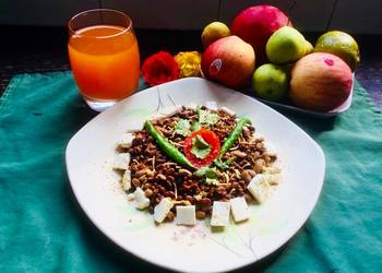 Easiest Way to Cook Yummy Mixed Lentils Sproutsfresh homemade Orange juice  Variety of Fruits