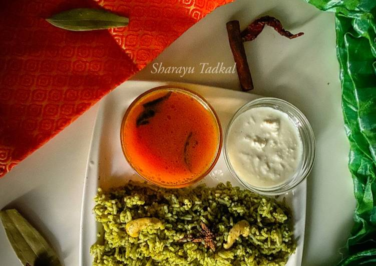 Spinach lemon Pulao with Rasam and chutney (Jain)