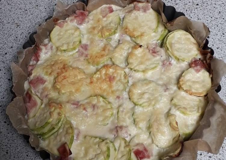 Recette  Quiche sans pâte courgettes et jambon