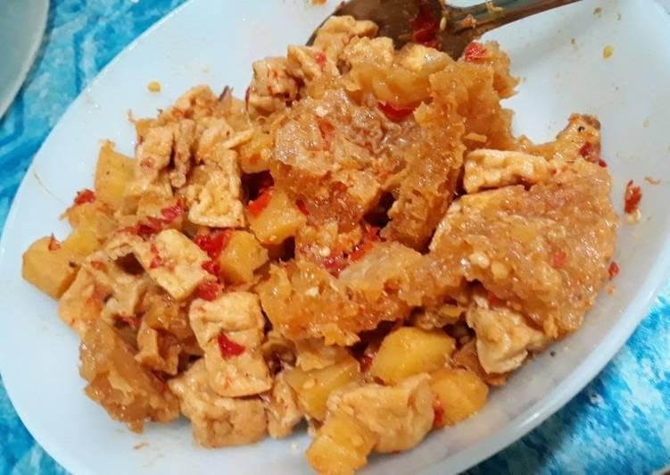 Sambel goreng kentang tahu krecek (kering /no kuah /no nyemek)