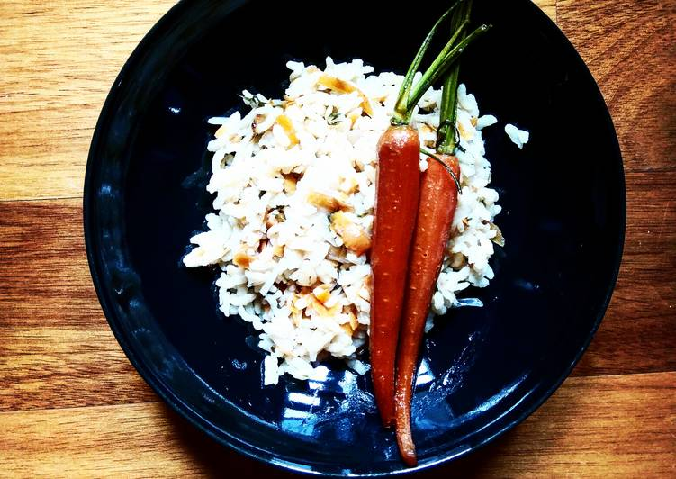 Risotto zéro déchet et carottes Confites