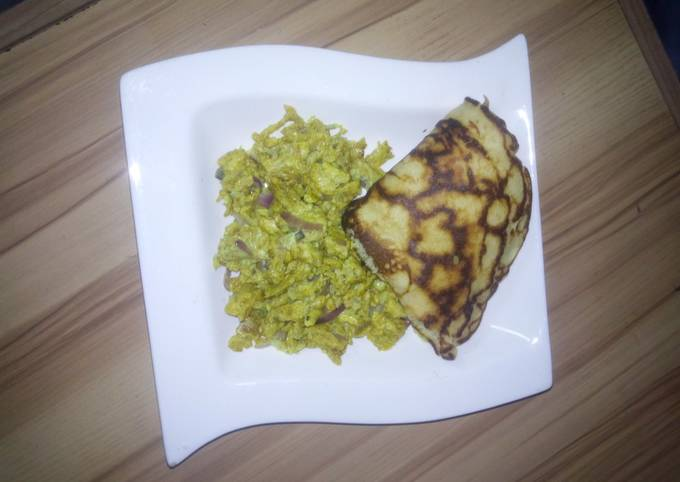 Pancake and scramble egg