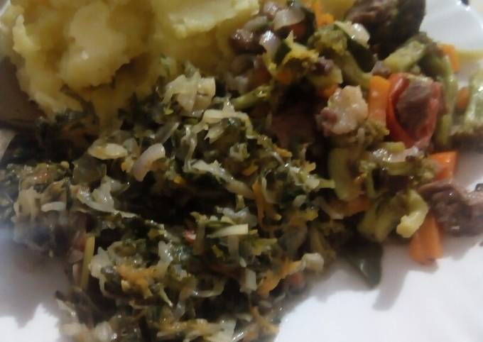 Mashed Bananas with brocoli meat stew and steamed cabbages