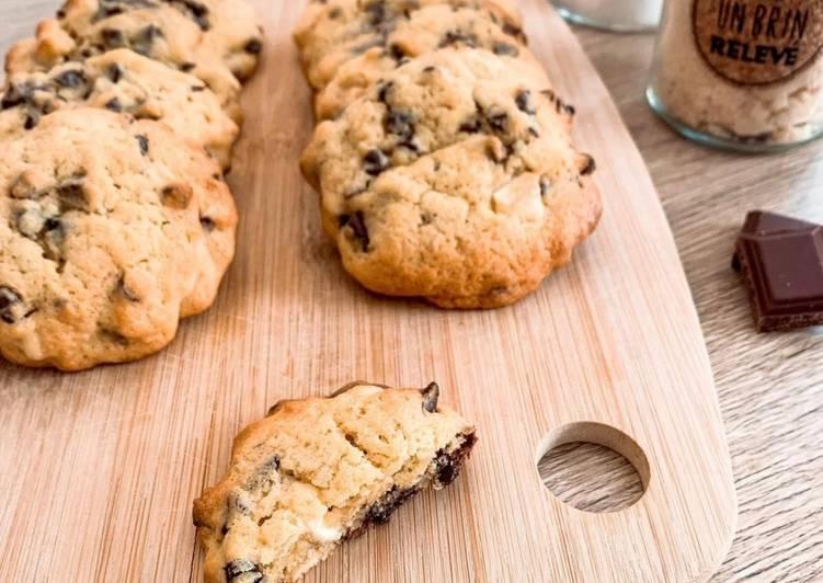 Recette Savoureux Cookies vanille / 3 chocolats moelleux