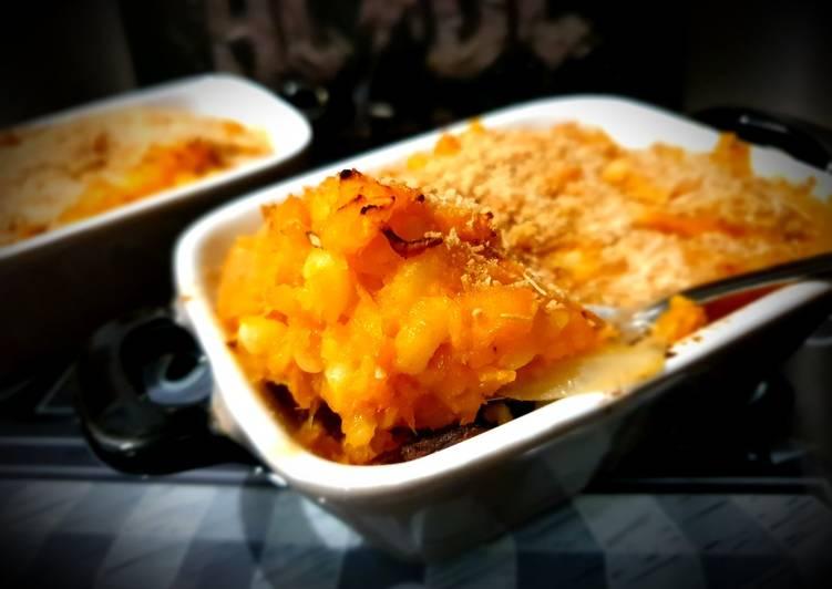 Comment faire Cuire Délicieux Gratin de pâtes, butternut & cheddar