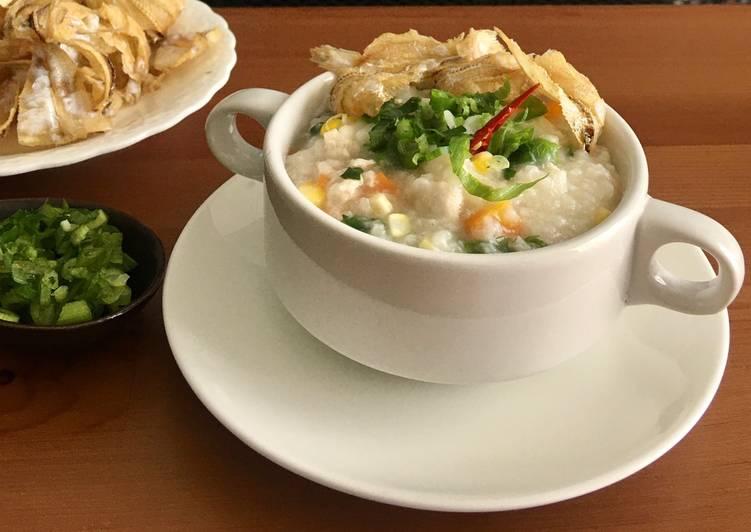 Bubur ayam sayuran (ricecooker)