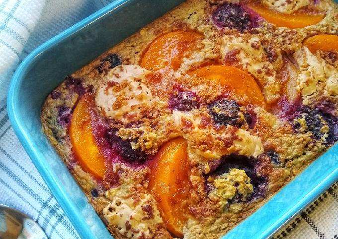 Recipe of Any-night-of-the-week Peanut Butter, Peach & Berry Baked Oats