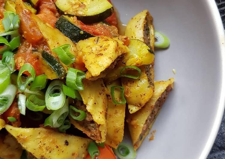 Curry-Maultaschen mit Gemüse