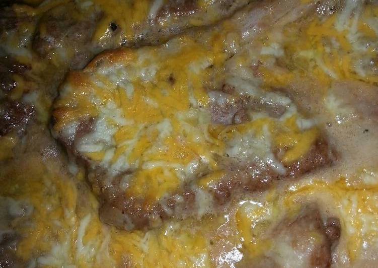 Cheesy baked pork chops
