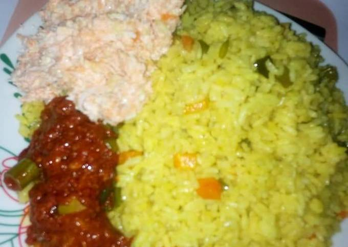 Fried rice and Salad