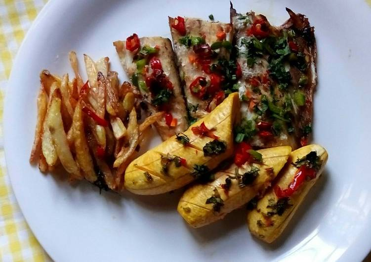 Fish, chips and grilled Plantain