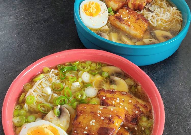 Keto pork belly ramen soup