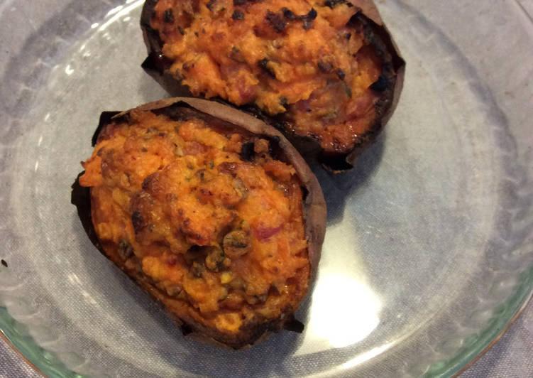 Patate douce farcie champignons et lardons
