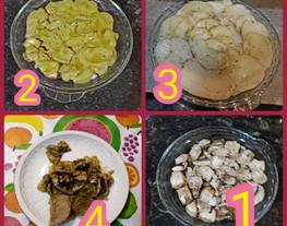 Batiburrillo de setas, patatas y pesto de ajo y perejil