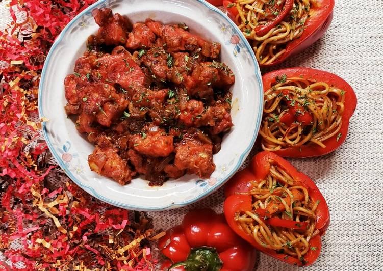 Get Breakfast of Bell Pepper stuffed noodles
