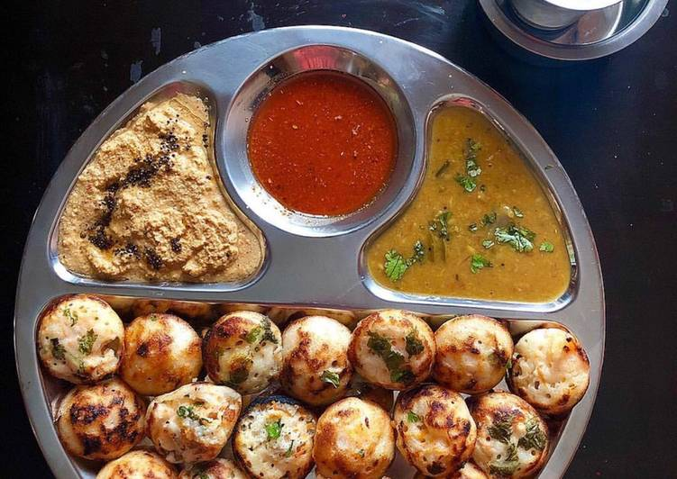 Recipe of Quick Vegetable appe with red chilli coconut chutney