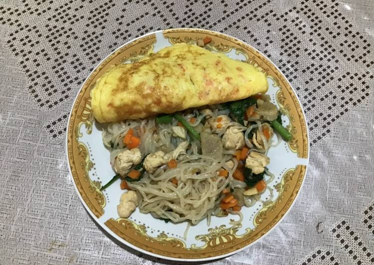 Mi Shirataki + telur dadar (Diet)