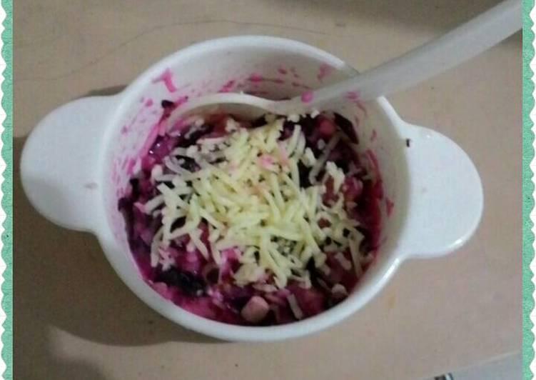Cara Gampang Membuat Bubur beras Tuna Sayur [bayam merah,kentang, tuna, tempe, brokoli, keju] ~ mpasi bayi 9m+ yang Enak Banget