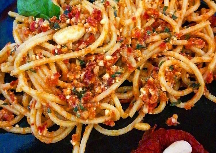 Spaghetti al pesto trapanese o siciliano 😋