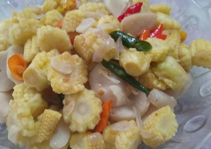 28. Tumis bakso ayam dan janten/jagung muda (menu buka puasa)