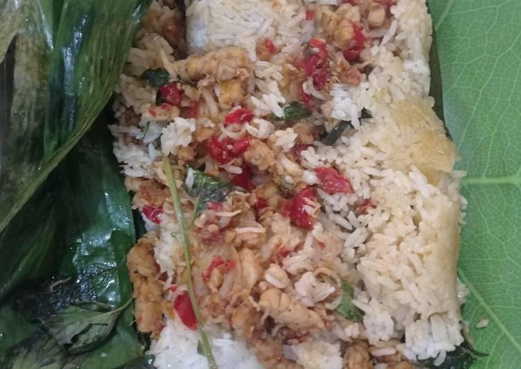 Nasi Bakar Ikan teri dan Tempe