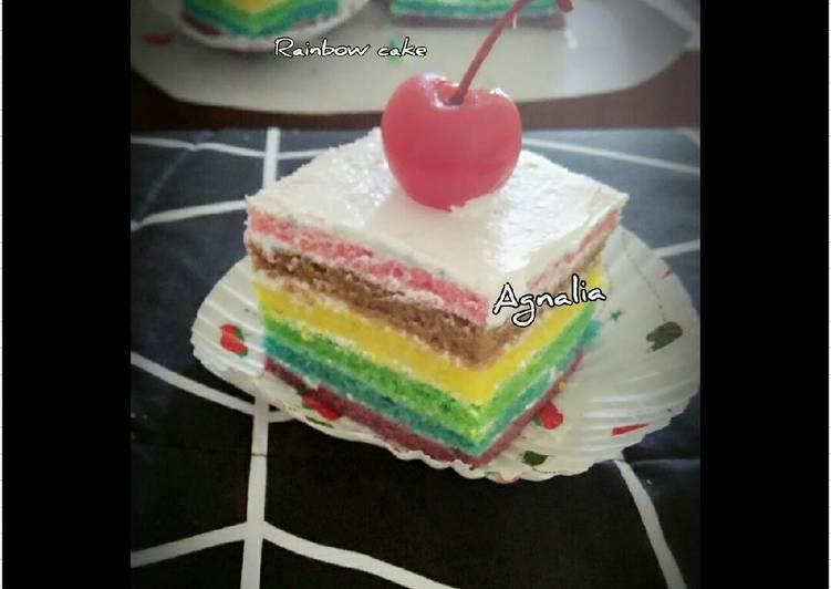 Cara Mengolah Rainbow cake kukus yang Bisa Manjain Lidah
