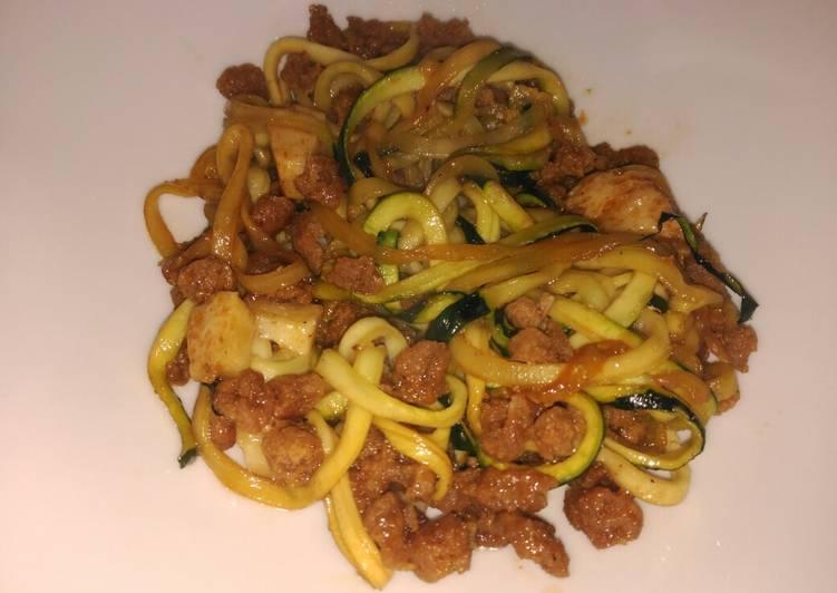 Espaguetis de calabacín y soja