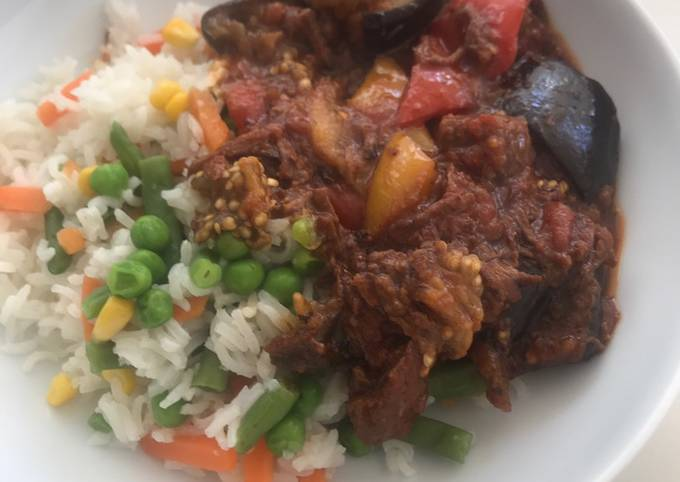 Beef with aubergines