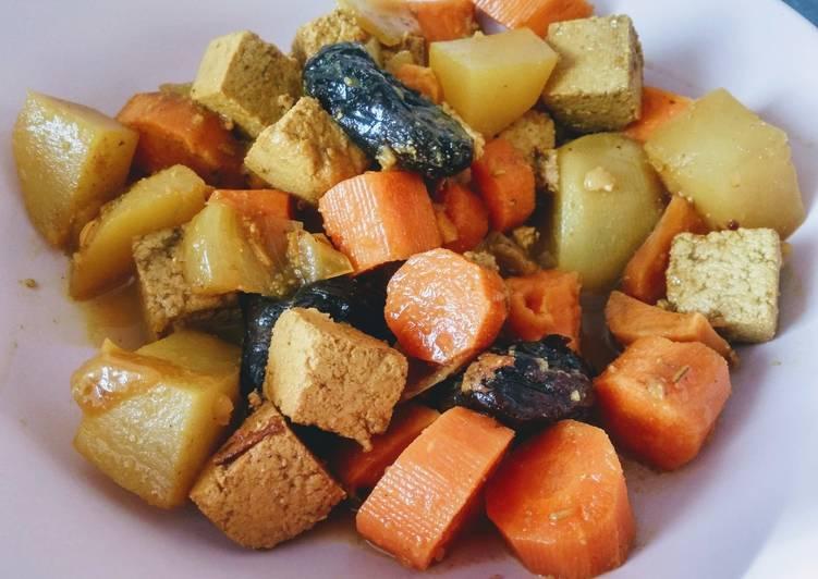 Wok de légumes racines et tofu (vegan)