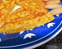 Tortilla de calabaza rallada y queso tipo Philadelphia parallevar