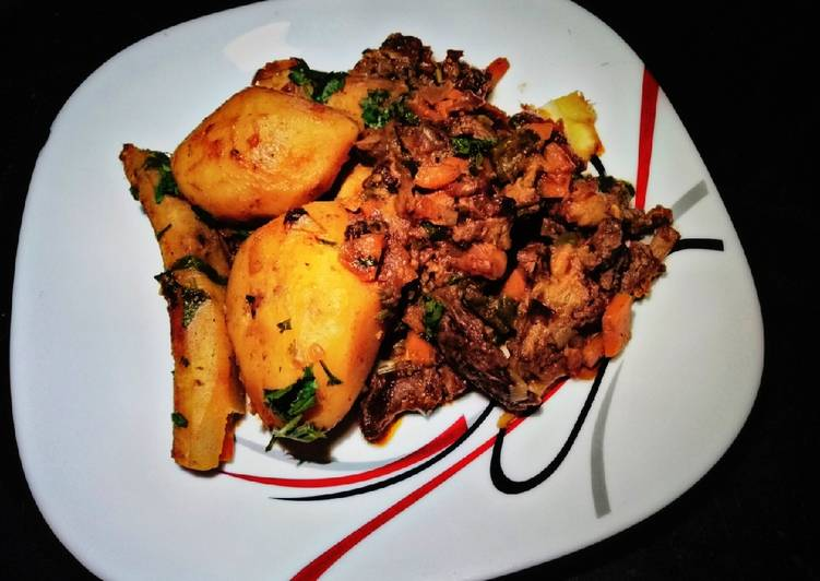 30 Minute How to Make Winter Potato,matoke with beef stew#themechallenge#potatoes