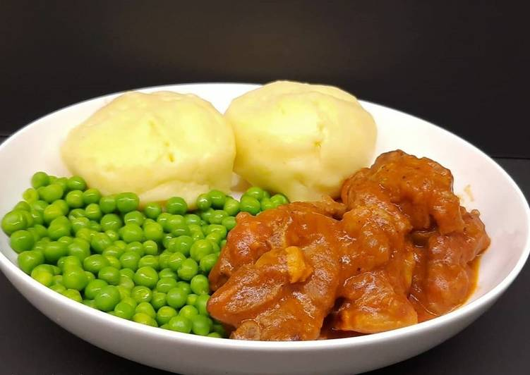 Step-by-Step Guide to Prepare Most Popular Lamb neck stew with mashed potatoes, and peas