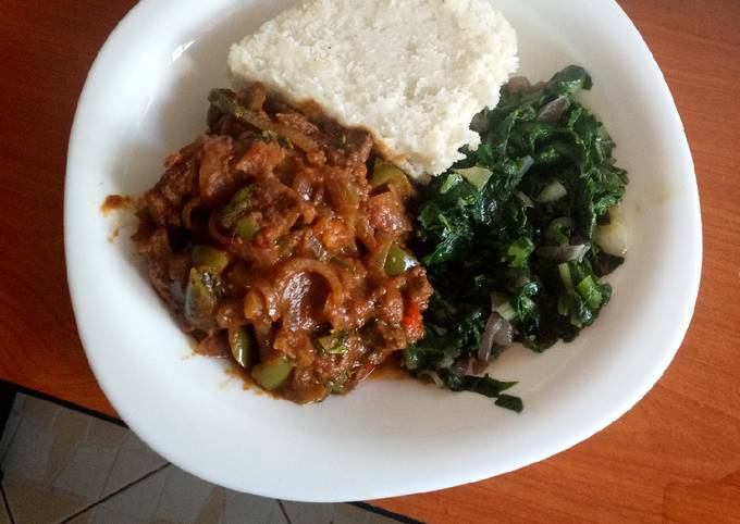 Sweet and sour beef and creamed spinach