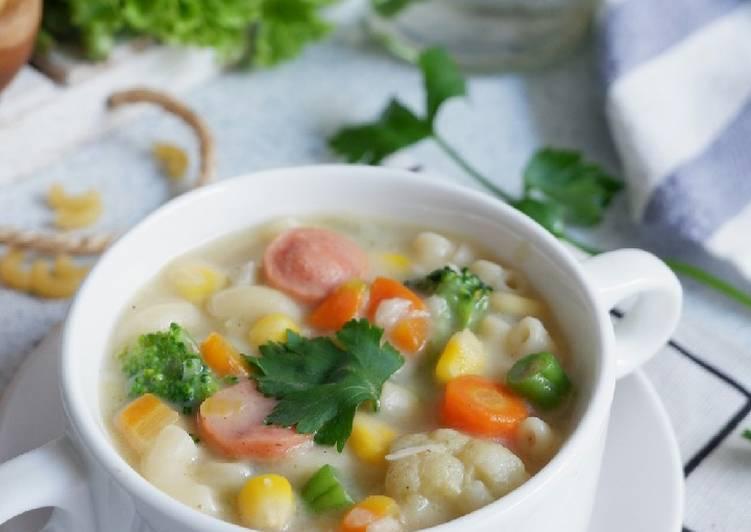 Sup Krim Ayam Sayur dan Pasta